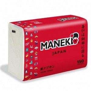 """Салфетки бумажные """"Maneki"""" RED, 2 слоя, белые, 150 шт./упаковка"""