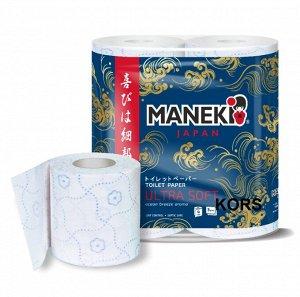 """Бумага туалетная """"Maneki"""" OCEAN 3 слоя, 167 л., 23 м, с гол.тиснением и ароматом океан.бриза, 4 р/уп"""