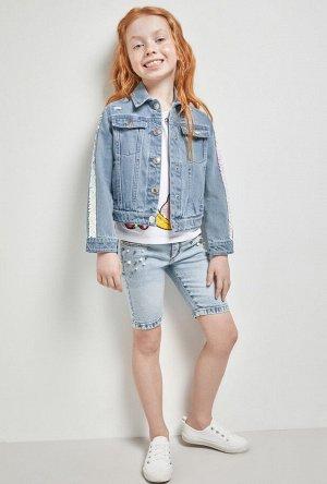 Шорты джинсовые детские для девочек Katla светло-голубой