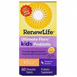 Renew Life, Ultimate Flora Kids Probiotic, Sun-Kissed Orange Flavor, 1 Billion Live Cultures, 60 Chewable Tablets