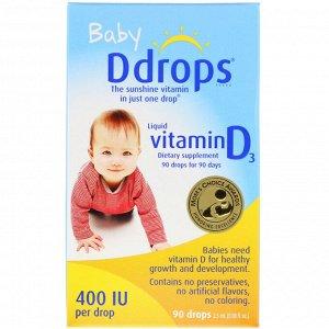 Ddrops, Для детей, жидкий витамин D3, 400 МЕ, 90 капель, 2,5 мл (0,08 жидкой унции)