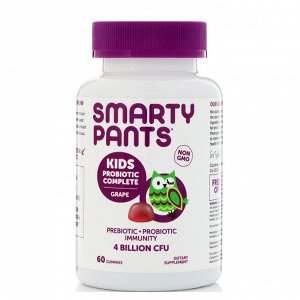 SmartyPants, Kids Probiotic Complete, Grape, 4 Billion CFU, 60 Gummies