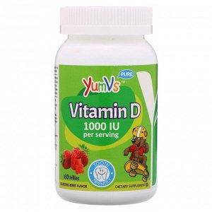 YumV&#x27 - s, Витамин D, со вкусом малины, 1000 МЕ, 60 желейных мишек