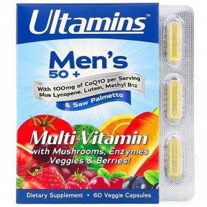 Ultamins, Мультивитамины для мужчин старше 50лет, с коэнзимом Q10, грибами, ферментами, овощами и ягодами, 60растительных капс
