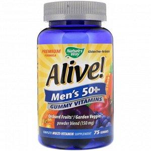 Nature&#x27 - s Way, Alive!, жевательные витамины для мужчин старше 50 лет, 75 жевательных таблеток