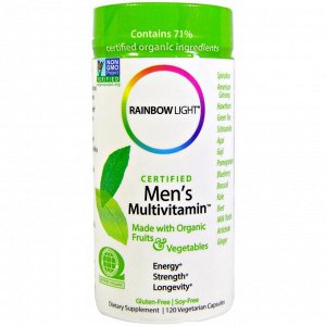 Rainbow Light, Сертифицированные Men&#x27 - s Multivitamin, 120 вегетарианских капсул