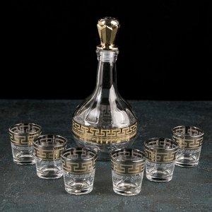 Набор питьевой «Нэро», 7 предметов: графин-штоф 500 мл, стопка 50 мл 6 шт