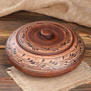 Горшок духовой 2 л, красная глина
