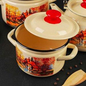 Набор посуды «Старая мельница», 4 предмета: кастрюли 2 л, 3 л, 4 л, чайник 3 л