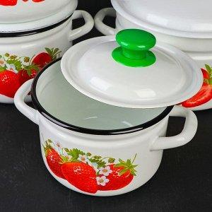 Набор посуды «Садовая клубника», 5 предметов: Кастрюли 2 л, 3 л, 5 л, Миска 4 л, Чайник 3 л