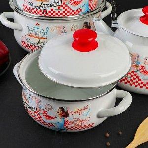 Набор посуды «Десерт», 4 предмета: кастрюли 2 л, 3 л, 4 л, чайник 3 л