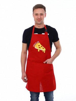 Фартук кухонный с вышивкой, лен (Пицца, красный)