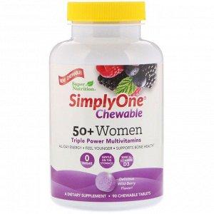 Super Nutrition, SimplyOne, мультивитаминная добавка тройного действия для женщин старше 50 лет, вкус лесных ягод, 90 жевательных таблеток