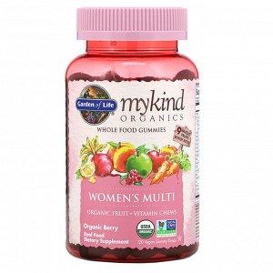 Garden of Life, MyKind Organics, мультивитамины для женщин, органические ягоды, 120 веганских жевательных таблеток
