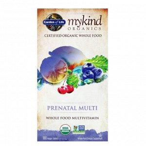 Garden of Life, MyKind Organics, пренатальные мультивитамины, 180 веганских жевательных таблеток