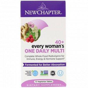 New Chapter, 40+ Every Woman's One Daily Multi, мультивитамины для женщин после 40, 72растительные таблетки