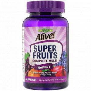 Nature&#x27 - s Way, Alive! Super Fruits Complete Multi, комплекс витаминов для женщин, гранат и ягоды, 60 жевательных таблеток