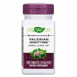 Nature&#x27 - s Way, Valerian Nighttime, 100 Tablets