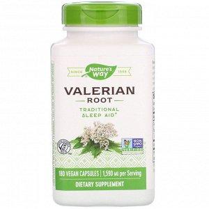 Nature&#x27 - s Way, корень валерианы, 1590 мг, 180 веганских капсул