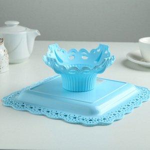 Блюдо для торта и пирожных на ножке 25?10 см, цвет МИКС