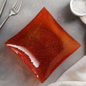 Салатник квадратный 300 мл, 15,5 см, цвет оранжевый