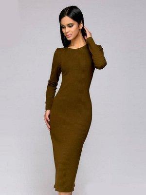Платье темно-оливковое длины миди в полоску с длинными рукавами