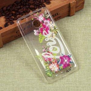 Силиконовый чехол с цветами для Xiaomi Redmi 3S, арт. 009617