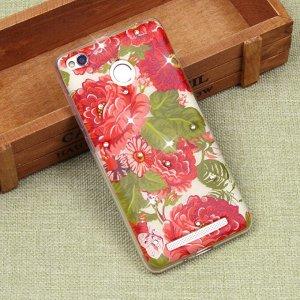 Силиконовый чехол с цветами для Xiaomi Redmi 3S, арт. 009614