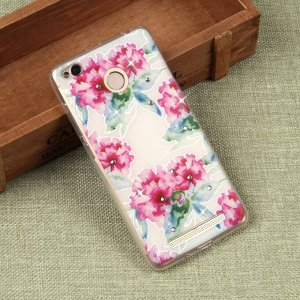 Силиконовый чехол с цветами для Xiaomi Redmi 3S, арт. 009609