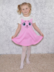 Платье Кошка розовое.короткий рукав.