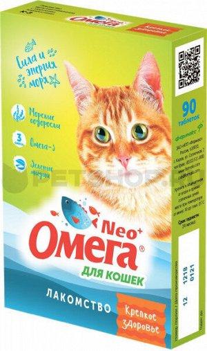 """Омега Neo+К-З витаминное лакомство для кошек """"Крепкое здоровье"""" с морскими водорослями 90таб"""