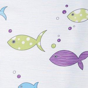 Портьера Крошка Я «Океан» без держателя цвет голубой. 170?260 см. блэкаут. 100% п/э