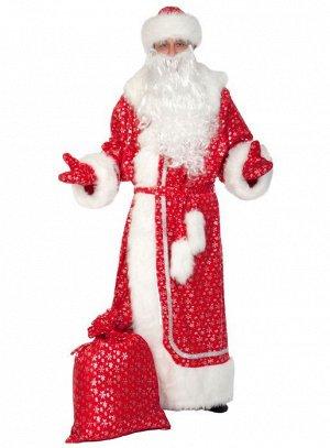 Дед Мороз плюш-серебро красный