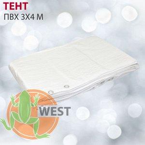 Тент белый ПВХ 3x4м, плотность 140 г/м2