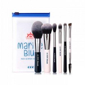 Marine Blue Make-Up Brush Collecion Set (6P) Набор из 6 кистей для макияжа
