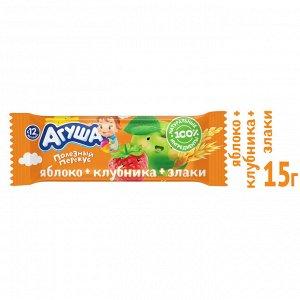 Батончик фруктовый Агуша Яблоко,клубника,хлопья 0.54% 15г с 12 месяцев