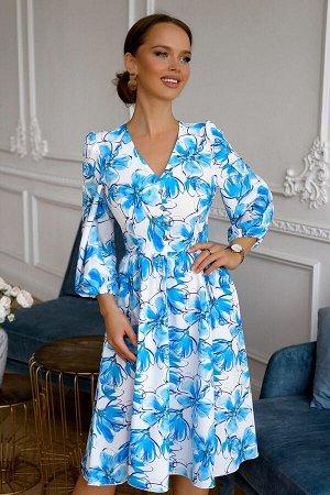Платье Размер: 42 / 44 / 46 / 48 Шикарное платье из легкого текстильного полотна. Очень красивая юбка. Перед украшен декоративными пуговками. Идеально по посадке . Сзади замок 50 см. 65 % полиэстер 35
