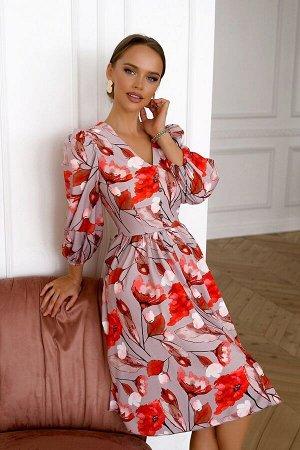 Платье Размер: 42 / 44 / 46 Красивое платье из легкого текстильного полотна Сзадизамок 50 см Собственный дизайн ткани. Популярная модель сезона - платье в яркий цветочный принт. Расклешенная юбка под
