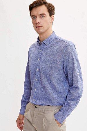 рубашка Размеры модели: рост: 1,89 грудь: 99 талия: 75 бедра: 99 Надет размер: M  Хлопок 45%,Keten 55%