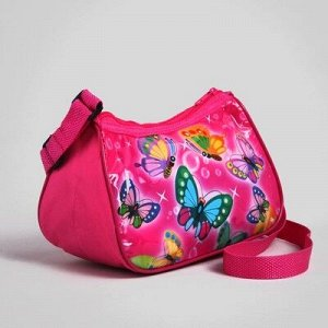 Сумка дет Бабочки, 20*8*13см, отдел на молнии, регул ремень, розовый
