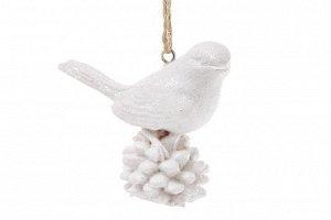 Подвеска 829-108 Птица на шишке бел 6*5см полистоун