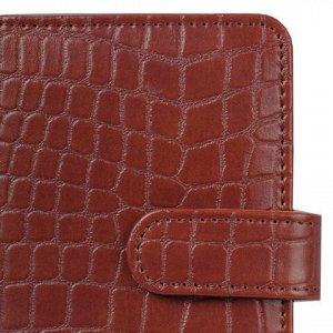 """Визитница/кредитница однорядная GALANT """"Contract"""", на 24 карты, под кожу крокодила, застежка, коричневая, 235397"""