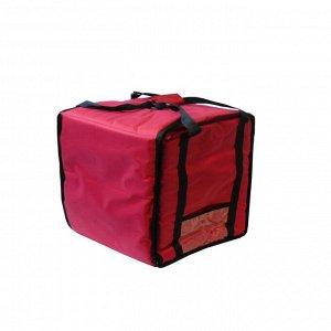 Термосумка на 5-6 пицц 350 х 350 х 300 мм, фольгированная, средняя, с вентиляцией, цвет красный