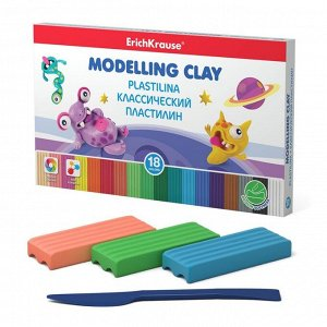 """Пластилин 18 цвета, 180 г, ErichKrause """"Монстрики"""", улучшенная формула, со стеком, в картонной упаковке"""