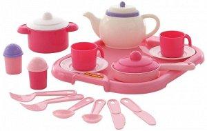 Набор детской посуды Настенька с подносом на 2 персоны (19 элементов) (в сеточке)