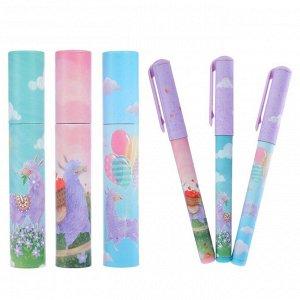 Ручка шариковая в тубе DreamWrite «Волшебные Ламы», узел 0.7 мм, синие чернила, матовый корпус Silk Touch, МИКС