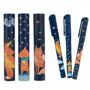 Ручка шариковая в тубе DreamWrite «Лисята», узел 0.7 мм, синие чернила, матовый корпус Silk Touch, МИКС