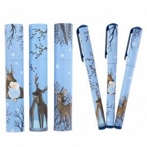 Ручка шариковая в тубе DreamWrite «Олененок», узел 0.7 мм, синие чернила, матовый корпус Silk Touch, МИКС