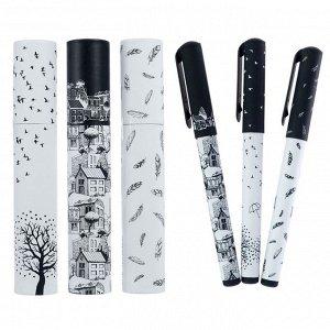 Ручка шариковая в тубе DreamWrite «Черно-белая романтика», узел 0.7 мм, синие чернила, матовый корпус Silk Touch, МИКС
