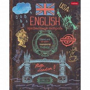 Тетрадь предметная Handmade, 46 листов в клетку «Английский язык», мелованный картон, УФ-краска